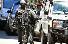 A police sniper team walk to their vehicle during a hostage siege in the central business district of Sydney on Dec. Strong Arms, Black Love Art, Central Business District, Personal Defense, Serious Business, Men In Uniform, Swat, Special Forces, Cops