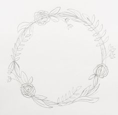 """I'm back with my third post in the """"How to Draw"""" series. (You can view the first two here and here.)  I love drawing wreaths but I find myself feeling really overwhelmed when I sit down to draw one. Where do I start? What do I draw? Too sparse? Too full?   Ok, well I'm breaking it down step by step today so if you're like me, you won't be overwhelmed any longer. But before we go any further, download your worksheet here. Your worksheet shows you the collection of botanical elements in this…"""