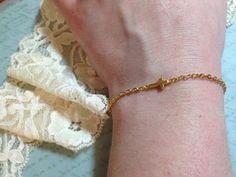 Gold Cross Bracelet  Sideways Cross Charm  Custom by adieslovelies, $8.99