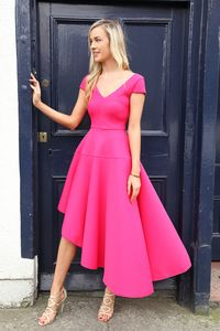 Pink Textured Asymmetric Skater Dress with Cap Sleeve | Ireland's Best Dresses Website | Buy Dresses Online Ireland