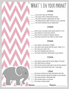 Baby Shower Game-Whats in your phone | Baby Elephant Baby Shower Theme