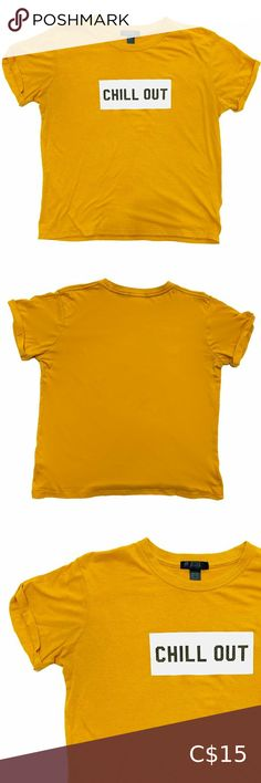 """Streetwear Society Mustard Yellow Chill Out Tee Seriously, just Chill! Mustard Yellow tee with rolled sleeves, boxy cut, and perfect messaging! Lightly faded, minor pilling. Get this in a bundle for my closet discount!  Size M Chest: 37-39"""" Length: 23.5"""" Width: 21"""" Streetwear Society Tops Tees - Short Sleeve Yellow Tees, Plus Fashion, Fashion Tips, Fashion Trends, Mustard Yellow, Chill, Street Wear, Sleeves, Outfits"""