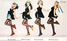 This classic Clarks advert, which will be included at a new exhibition about one of the most successful advertising companies in the world, shows four sultry women skipping while wearing different colours of the brand's leather shoes. The advert was created in 1976