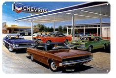 Chevron Gas Service Station, Classic Dodge Muscle Cars by Jack Schmitt, Metal Sign, Nostalgic Gas Oil Garage Art, FREE Shipping JS-21 by HomeDecorGarageArt on Etsy