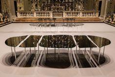#Salone2015 #GLASITALIA Specchio di Venere high table design #MassimilianoLocatelli in the suggestive location of Chiesa di San Paolo Converso #CLSArchitetti #FuoriSalone2015 | ph Delfino Sisto Legnani