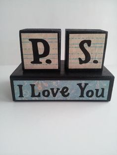 P.S. I Love You Wood Block Sign Blue and by ForeverYoursCreation, $10.00
