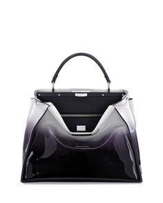 Fendi Peekaboo Large Ombre Patent Satchel Bag