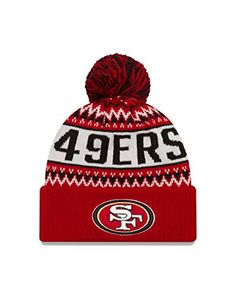 NFL San Francisco 49ers Wintry Pom Knit Beanie One Size RedGold   Click on  the image for additional details. 6e9ffabca