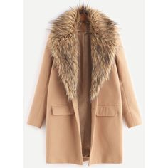 Camel Faux Fur Collar Single Breasted Coat (1140940 BYR) ❤ liked on Polyvore featuring outerwear, coats, camel coat, faux fur collar coat, single-breasted trench coats and beige coat