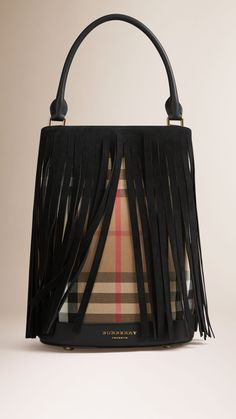 The Bucket Bag in House Check And Fringing | Burberry