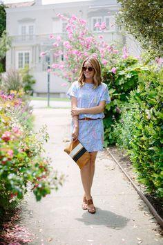 @Julia Engel (Gal Meets Glam) in Lilly Pulitzer Summer '13 Carmine Dress in Get Nauti