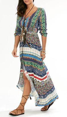 High Slit Empire Waist Maxi Print Dress