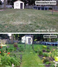 Starting a garden from scratch showing the the transformation from a bare grass lawn to many flowering perennial beds in just 1.5 years.