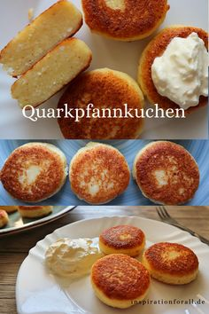 Quarkpfannkuchen ohne Mehl – einfaches & schnelles Rezept Russian quark pancakes or syrniki from the Easy Cake Recipes, Quick Recipes, Easy Healthy Recipes, Quick Easy Meals, Low Carb Recipes, Baking Recipes, Dessert Recipes, Recipe Without Flour, Pancake