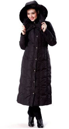 Long Hooded Down Coat.  Love the big hood on this one! www.winterfashionhouse.com