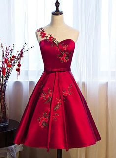 Homecoming dresses,Red Satin Short Formal Dresses, Lovely Party Dresses, Cute Party Dress 2019 · HotProm · Online Store Powered by Storenvy Cute Bridesmaid Dresses, Cute Red Dresses, Cute Homecoming Dresses, Cute Dresses For Party, Sexy Dresses, Beautiful Dresses, Evening Dresses, Party Dress, Short Dresses