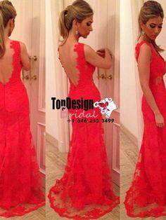 Wholesale New Vestidos De Fiesta Coral Red Open Back Long Evening Prom Formal Dress