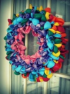 Birthday door wreath, would be fund to do for baby shower in pinks blues & yellows, wedding shower in black & white maybe