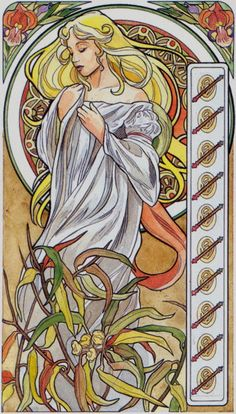The Primavera Tarot was also called Tarot Art Nouveau, but there is another deck by Matt Myers called the Art Nouveau Tarot. The Myers deck is less representative of art nouveau and shows mainly in… Klimt, Art Nouveau, Art And Illustration, Pinturas Art Deco, Jugendstil Design, Art Deco Paintings, Inspiration Art, Alphonse Mucha, Catholic Art
