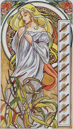 10 de bâtons - Tarot art nouveau par Antonella Castelli