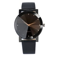 Fashion Quartz Stainless Steel Dial Leather Band Wrist Watch Sport casual