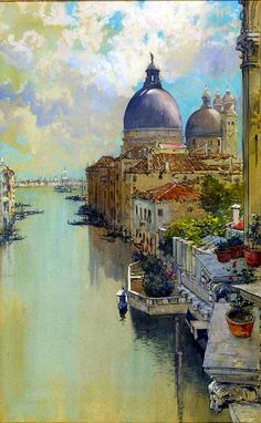 """Francis Hopkinson Smith (American 1838-1915) """"Over a Balcony"""" ~ View Of The Grand Canal , Venice c. 1893~ Watercolour In Paper."""