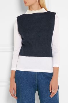 TOGA Layered wool-felt and cotton-jersey top  $315.00 https://www.net-a-porter.com/product/733508