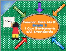 "*Objectives and standards can be challenging for students to understand.  ""I Can"" statements are a student friendly alternative.  This pack contains ""I Can"" statements for each of the 3rd grade Math Common Core Statements.  Each statement, when prepared, is approximately 4.25 X 11"" and will fit nicely into a small pocket chart.  Print this set on 8.5 X 11"" letter size paper and cut into strips.  To add durability, print on card stock and/ or laminate. A student self assessment is included.  $"