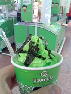 "Wasabi ice cream -- a previous comment: ""who would eat this stuff? Weird Ice Cream Flavors, Ice Cream Recipes, Yummy Food, Tasty, Weird Food, Shawarma, Some Recipe, Sorbet, Yummy Cakes"
