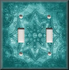 Light Switch Plate Cover - Bohemian Star Pattern - Aqua Blue - Home Decor