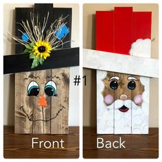Reversible holiday pallet face signs Reversible holiday face signs made out of pallet wood. Fall Wood Crafts, Halloween Wood Crafts, Christmas Wood Crafts, Christmas Projects, Holiday Crafts, Christmas Crafts, Thanksgiving Wood Crafts, Pallet Thanksgiving Ideas, Christmas Blocks