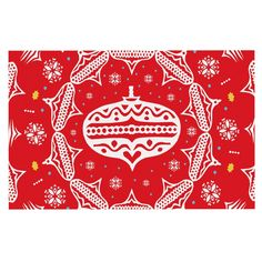 KESS InHouse Miranda Mol 'Deco Wreath Red' Scarlet Dog Place Mat, 13' x 18' ** See this awesome image  (This is an amazon affiliate link. I may earn commission from it)