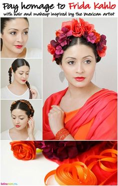 Get the look: Frida Kahlo-Inspired Hair: How to beautifully pay homage to one of the greatest Mexican artists of our time #Frida #FridaKahlo #Mexico