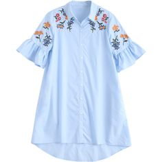High Low Embroidered Ruffles Shirt Dress ($20) ❤ liked on Polyvore featuring dresses, long shirt dress, blue shirt dress, hi low ruffle dress, hi lo dress and blue embroidered dress