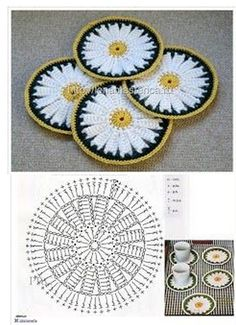 Crochet Coaster Pattern, Crochet Flower Patterns, Crochet Mandala, Crochet Designs, Crochet Flowers, Crochet Tote, Filet Crochet, Cute Crochet, Crochet Tablecloth