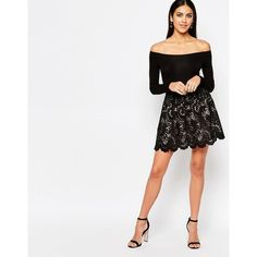 Ariana Grande for Lipsy Mini Skater Skirt In Lace (€54) ❤ liked on Polyvore featuring skirts, mini skirts, black, short lace skirt, mini skirt, lace skater skirt, circle skirt and tall skirts