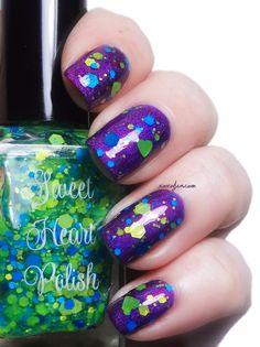 xoxoJen's swatch of Sweet Heart Polish Hang Ten - I love it over purple #blue/green glitter topper