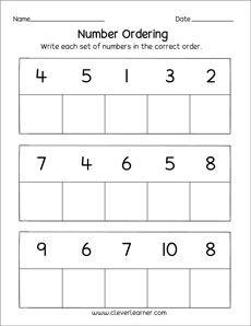 Free and fun number ordering printables for preschool and kindergarten children Number Worksheets Kindergarten, Preschool Writing, Numbers Preschool, Preschool Lessons, Lkg Worksheets, Printable Worksheets, Ordering Numbers, Math School, Math For Kids