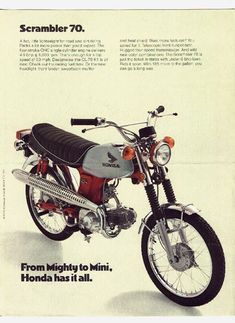 Of all of the big four Japanese motorcycle manufacturers, it is perhaps Honda that is the most closely associated with the scrambler genre - they were building scramblers from the mid-to-late with much success in Japan, North America and Europe. Classic Honda Motorcycles, Honda Bikes, Vintage Motorcycles, Honda Cycles, Honda Auto, Honda S90, Honda Scrambler, Scrambler Motorcycle, Motorcycle Helmets