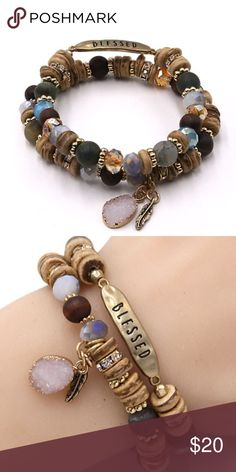 BLESSED- Mixed Stone & Bead Stretch BRACELET SET WORN GOLD TONE NICKEL AND LEAD SAFE -BLESSED- MIXED STONE & BEAD BRACELET SET Jewelry Bracelets