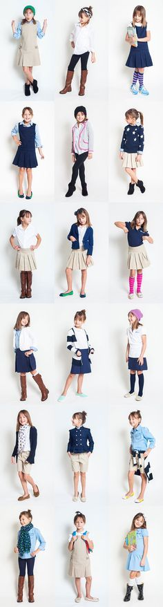 School uniform style project e will have plaid dress plaid skirt khaki skirt charcoal pants or skirts navy tops or navy cardi w logoLike the black pants boots white shirt and headband combo!my kid bouta take public school by storm.School Uniform for School Uniform Outfits, Cute School Uniforms, Kids Uniforms, Outfits Niños, Kids Outfits, Uniform Ideas, Little Girl Outfits, Little Girl Fashion, Toddler Fashion