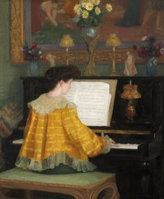 "fogrest: "" François Gauzi ""Young Woman at the Piano"" 1904 "" Piano Y Violin, Piano Music, Jouer Du Piano, Piano Girl, Eros And Psyche, Music Express, Music Sing, Playing Piano, Music Wall"