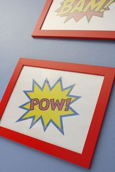 Boys Super Hero Room This should be pretty easy to make.....love the wall color too! Muted blue with gray feel to it