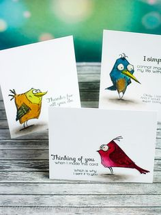 trio of handmade cards from Houses Built of Cards . super fun bright birds from Tim Holtz Bird Crazy stamp set . Crazy Bird, Crazy Cats, Tim Holtz Stamps, Karten Diy, Scrapbooking, Bird Cards, Animal Cards, Penny Black, Card Making Inspiration