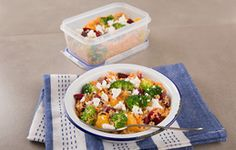 To reduce waste when cooking for one try this recipe and 'eat one – pack one'.  Half of this salad can be served on a bed of mixed leaves with a warm flatbread for dinner and the other half packed up in a lunchbox for tomorrow's lunch.