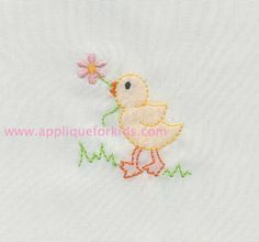 Sweet little duck! Very easy shadow work design by machine embroidery!