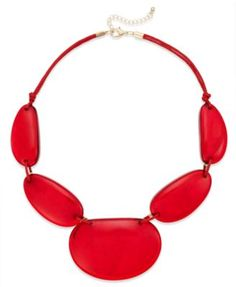 Style&co. Gold-Tone Red Shell Frontal Necklace