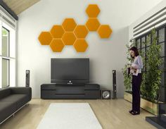 Wall-mounted decorative panel / fabric / 3-D / upholstered HEXAGON Agoraphil