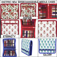 New KnitPro Interchangeable Needle Cases ASPIRE GLORY ETERNITY Hand Printed by MagpieLaneCrafts on Etsy
