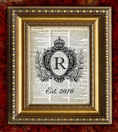 MONOGRAM CROWN DATE Upcycled Dictonary Page by EncorePrints. Could DIY with wedding vows on distressed paper behind the family monogram and the wedding date below...